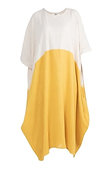 Ivory & Yellow Color Blocked Dress by Mati