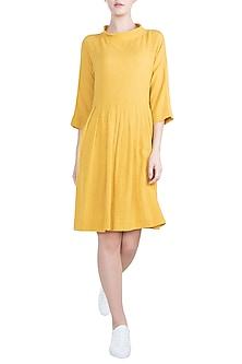 Yellow Pleated Knee Length Dress by Mati