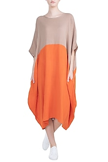 Orange Color Block Dress by Mati