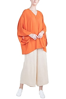 Orange Antifit Kaftan Top by Mati