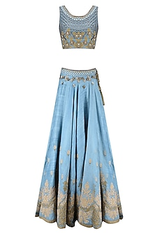 Blue Palatial Inspired Floral Embroidered Lehenga Set