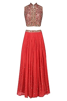 Red Floral Laser Cut and Mirror Work Blouse and Lehenga Set