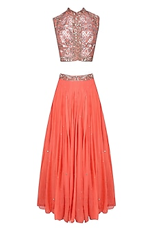 Peach Floral Laser Cut and Mirror Work Blouse and Lehenga Set