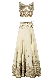 Cream Palatial Inspired Floral Embroidered Lehenga Set