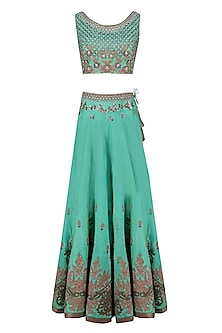 Green Palatial Inspired Floral Embroidered Lehenga Set