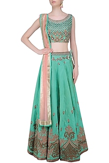 Green Palatial Inspired Floral Embroidered Lehenga Set by Matsya
