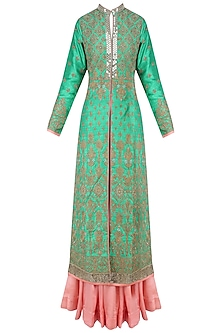 Green and Gold Floral Embroidered Sherwani Jacket and Peach Lehenga Set