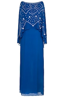Royal Blue Embroidered Cape Dress