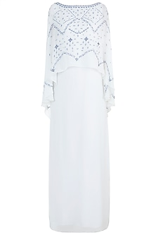 Ivory Embroidered Cape Dress