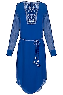 Royal Blue Embroidered Tunic With Belt