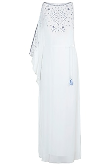 Ivory Embroidered One Sleeve Kaftan With Belt
