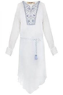 Ivory & Royal Blue Embroidered Tunic With Belt