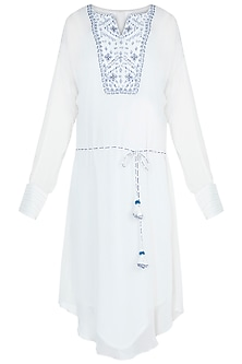 Ivory Resham Embroidered Tunic With Belt