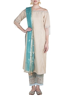 Gold & Vintage Blue Embroidered Kurta Set by Mandira Wirk