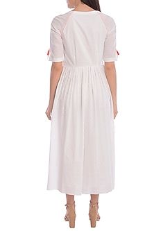 White Hand Embroidered Dress by Mandira Wirk