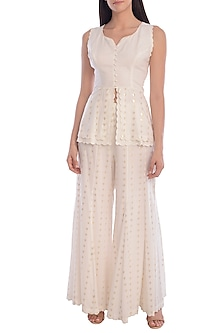 Ivory Embroidered Scalloped Top With Panelled Pants by Mandira Wirk