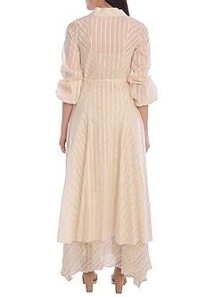 Ivory Overlay Kurta Dress With Asymmetrical Slip by Mandira Wirk