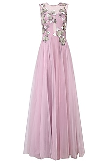 Onion Pink 3D Floral Applique Work Flared Gown