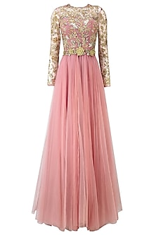 Rose Pink Floral Embroidered Anarkali Gown with Waistbelt