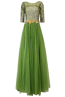 Green Sequins Embroidered Anarkali Gown with Waistbelt