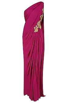 Burgundy 3D Floral Applique Work One Shoulder Saree Gown