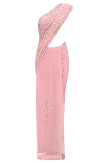 Rose Pink Pearl and Ssequins Embroidered Saree and Blouse Set