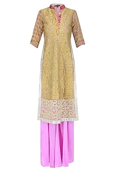 Gold Zari and Badla Work Kurta with Pink Sharara Pants