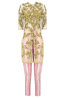 Golden Floral Embroidered Jacket with Pink Brocade Pants