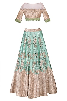 Tea Pink & Ocean Green Embroidered Lehenga Set by Mani Bhatia