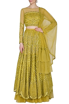 Golden Green Embroidered Lehenga Set by Mani Bhatia