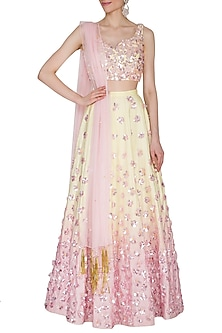 Yellow & Pink Embroidered Ombre Lehenga Set by Mani Bhatia