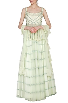 Mint Green Embroidered Lehenga Set by Mani Bhatia