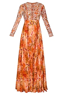 Orange Printed Embroidered Jumpsuit With Belt & Drape by Mani Bhatia