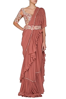 Rust Embroidered Printed Ruffled Saree Set With Belt by Mani Bhatia