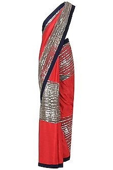 Red and Grey Embroidered Saree with An Unstitched Blouse
