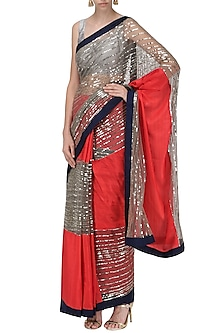 Red and Grey Embroidered Saree with An Unstitched Blouse by Mandira Bedi