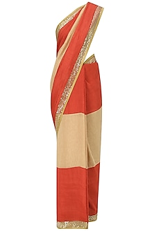 Red and Beige Embroidered Saree with An Unstitched Blouse by Mandira Bedi