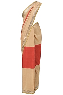 Beige and Red Embroidered Saree with An Unstitched Blouse