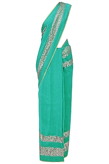 Sea Green and Grey Embroidered Saree with An Unstitched Blouse