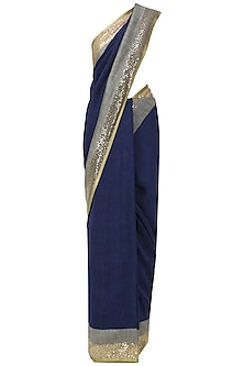 Navy Blue and Grey Embroidered Saree with An Unstitched Blouse