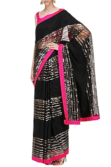 Black, Pink and Grey Embroidered Saree with An Unstitched Blouse by Mandira Bedi