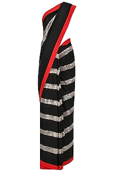 Black, Red and White Embroidered Saree with An Unstitched Blouse