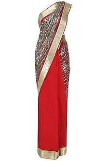 Red and Grey Sequins Embroidered Saree with An Unstitched Blouse