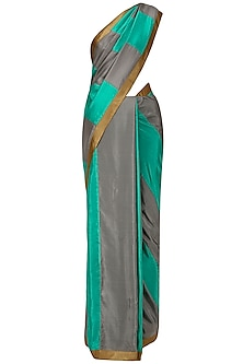 Sea Green and Grey Sequins Embroidered Saree with An Unstitched Blouse