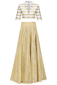 Beige Sequins Embellished Lehenga Skirt with Bustier and Jacket by Mandira Bedi
