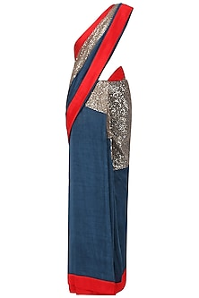 Blue and Red Embroidered Saree with An Unstitched Blouse
