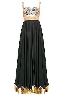 Black Embroidered Anarkali Gown With Dupatta by Mani Bhatia