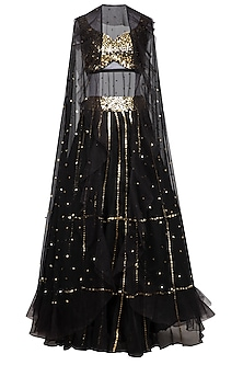 Black Embroidered Lehenga Skirt With Blouse & Cape
