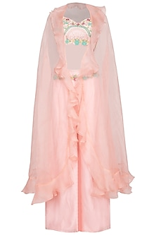 Peach Pink Embroidered Crop Top With Pants & Cape