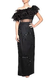 Black Embroidered Ruffled Gown by Mani Bhatia